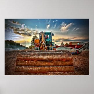 Poster affiche de bouteur de bouteur de camion de