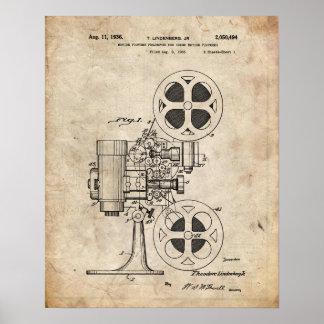 Poster Affiche de brevet de projecteur de film