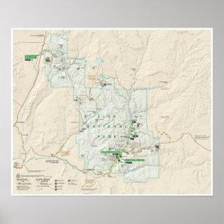 Poster Affiche de carte de parc national de Zion (Utah)