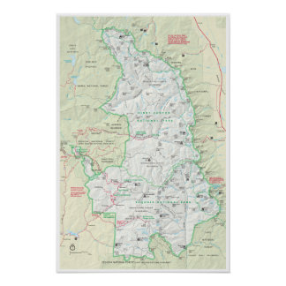 Poster Affiche de carte de séquoia et de Rois Canyon