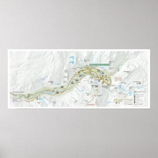 Poster Affiche de carte de vallée de Yosemite