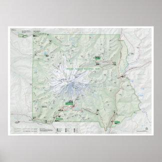 Poster Affiche de carte du mont Rainier