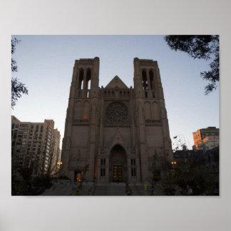 Poster Affiche de cathédrale de grâce de San Francisco