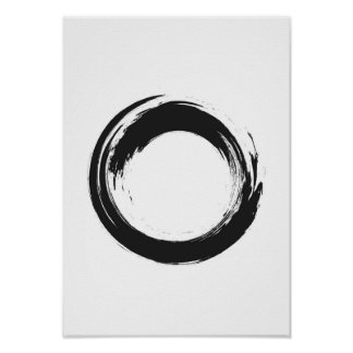 Poster Affiche de cercle de zen d'aquarelle