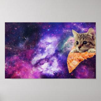 Poster Affiche de chat de pizza de l'espace