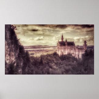 Poster Affiche de château de Schloss Neuschwanstein