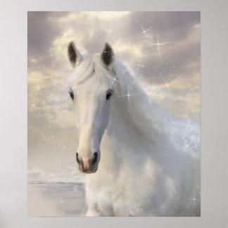Poster Affiche de cheval blanc