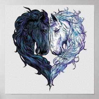 Poster Affiche de cheval d'amour
