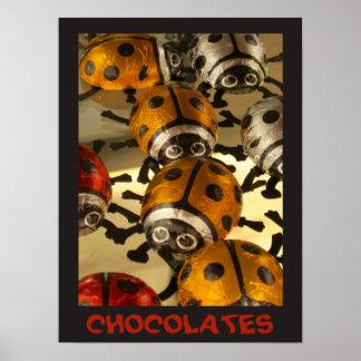 Poster Affiche de chocolats de coccinelle