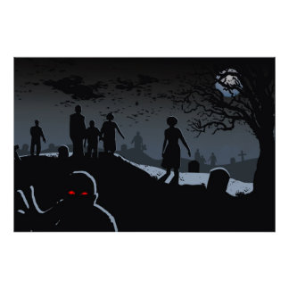 Poster Affiche de cimetière de zombi