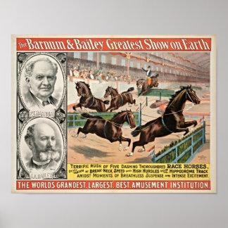 Poster Affiche de cirque de cheval de course de pur sang