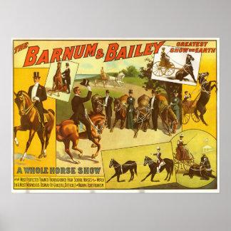 Poster Affiche de cirque de concours hippique de pur sang