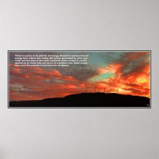 Poster Affiche de citation de coucher du soleil de champ