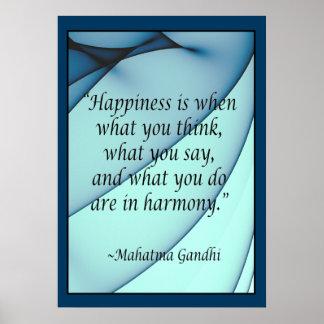 Poster Affiche de citation de Gandhi d'harmonie de bonheu