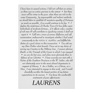 Poster Affiche de citations de John Laurens