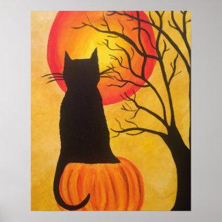 Poster Affiche de citrouille de chat noir de