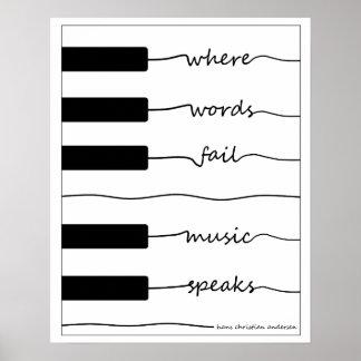 Poster Affiche de clavier de piano avec la citation