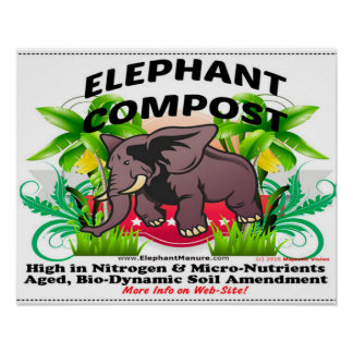 Poster Affiche de compost d'éléphant