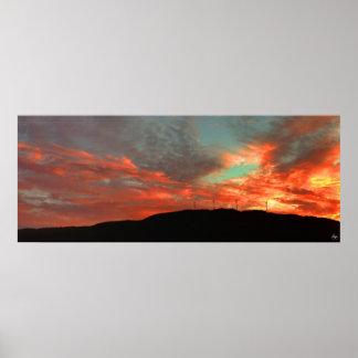 Poster Affiche de coucher du soleil de champ d'éoliennes