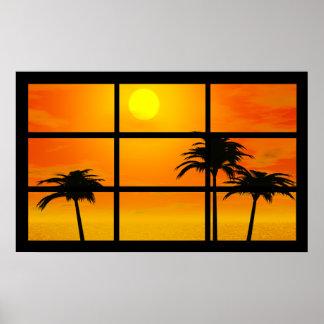 Poster Affiche de coucher du soleil de paume