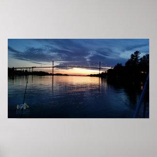Poster Affiche de coucher du soleil de pont d'île de