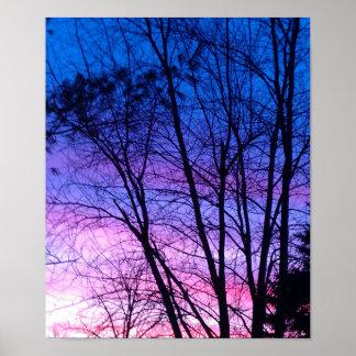 Poster Affiche de coucher du soleil d'hiver
