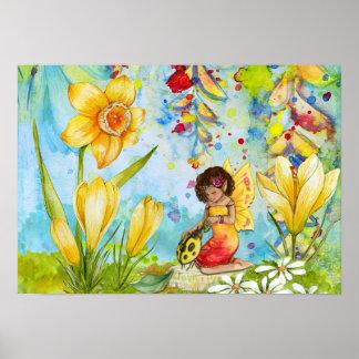 Poster Affiche de couleur pour aquarelle de lutin de