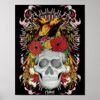 Poster Affiche de crâne de Raven