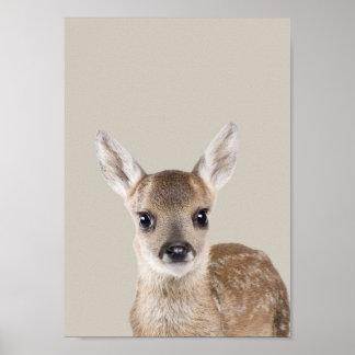Poster Affiche de crèche d'animaux de bébé - cerf commun