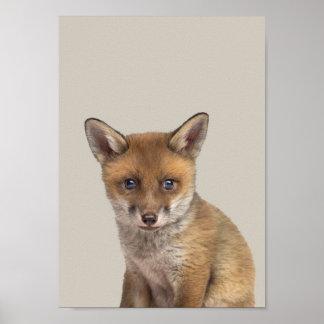 Poster Affiche de crèche d'animaux de bébé - Fox