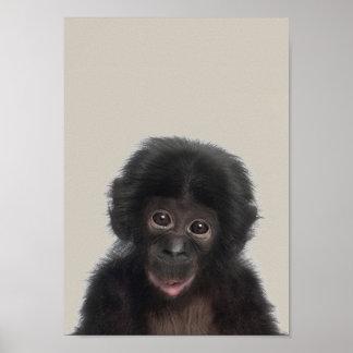 Poster Affiche de crèche d'animaux de bébé - singe