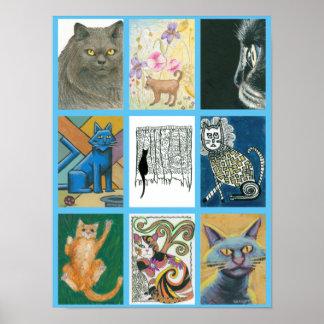 Poster Affiche de défi de chats