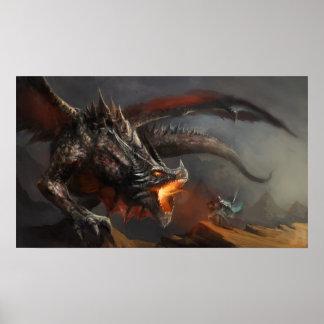 Poster Affiche de dragon et de chevalier