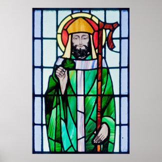 Poster affiche de fenêtre en verre teinté de St Patrick