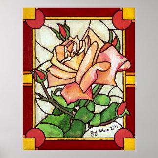 Poster Affiche de fenêtre rose de pêche