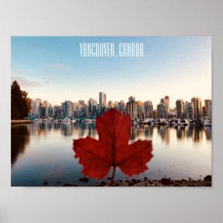 Poster Affiche de feuille d'érable rouge de Vancouver
