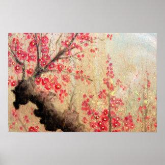Poster Affiche de fleurs de cerisier