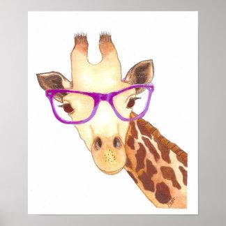 Poster Affiche de girafe de hippie
