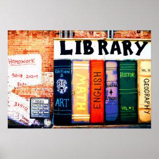 Poster Affiche de graffiti de mur de bibliothèque