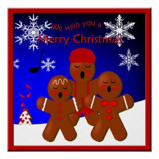 Poster Affiche de Joyeux Noël de Carolers de pain d'épice