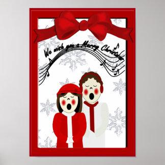 Poster Affiche de Joyeux Noël de couples de Caroler de