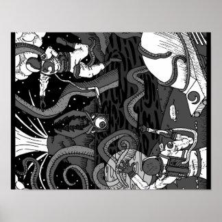 Poster Affiche de Kraken de l'espace