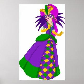 Poster Affiche de la Reine de mardi gras