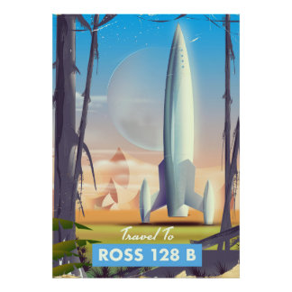 Poster Affiche de la science-fiction de Ross 128 B
