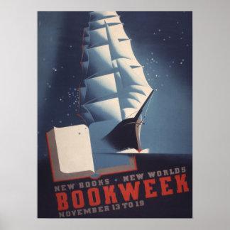 Poster Affiche de la semaine du livre de 1938 enfants