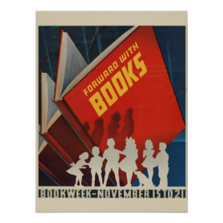 Poster Affiche de la semaine du livre de 1942 enfants