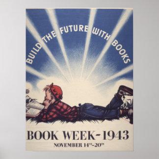 Poster Affiche de la semaine du livre de 1943 enfants