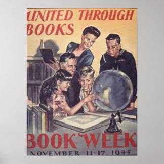 Poster Affiche de la semaine du livre de 1945 enfants