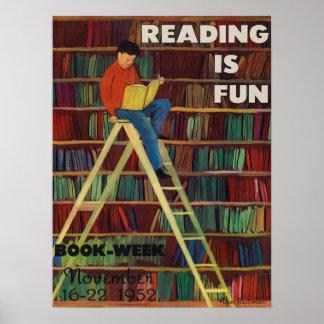 Poster Affiche de la semaine du livre de 1952 enfants