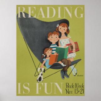 Poster Affiche de la semaine du livre de 1953 enfants